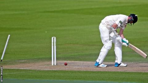 Sussex bowler Steve Magoffin is bowled for a duck on day three against Warwickshire at Hove