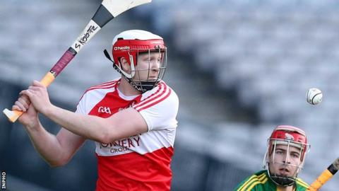 Derry's Alan Grant clears the ball during the county's Christy Ring Cup final against Kerry in Croke Park