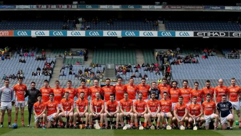 Armagh senior hurlers pose for the pre-match photograph before taking on Roscommon in the 2015 Nicky Rackard Cup final at Croke Park