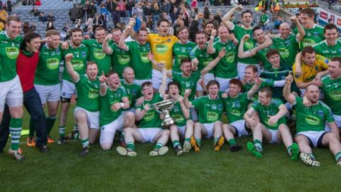 Fermanagh celebrate with the Lory Meagher Cup after beating Sligo 3-16 to 1-17 at Croke Park in Dublin
