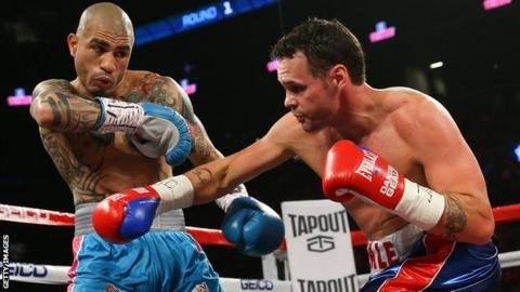 WBC middleweight champion Miguel Cotto dodges a shot from Daniel Geale in New York