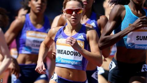 Jenny Meadows in the 800m at the Diamond League meeting in Birmingham