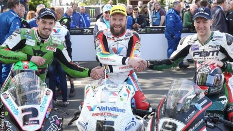 James Hillier, winner Bruce Anstey and Ian Hutchinson after the Superbike race