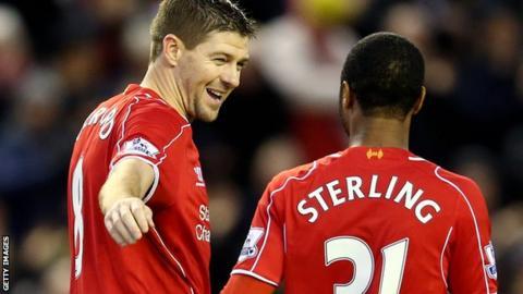 Steven Gerrard and Raheem Sterling