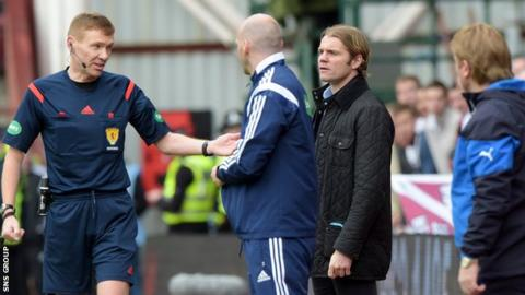 Robbie Neilson was dismissed from the dug out area at Tyneccastle on 2 May