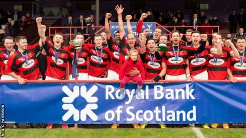 Glenurquhart celebrate their MacTavish Cup success