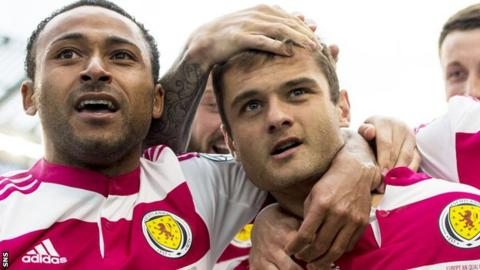 Ikechi Anya and Shaun Maloney celebrate Scotland's equaliser