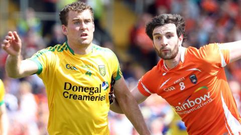 Eamonn McGee of Donegal in Championship action against Aaron Findon of Armagh