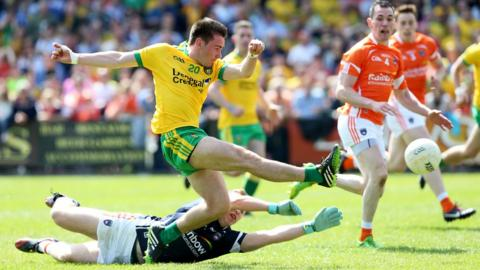 Martin O'Reilly beat Armagh keeper Matthew McNeice for Donegal's second goal at the Athletic Grounds