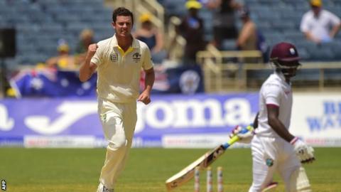 Josh Hazlewood celebrates the wicket of Jermaine Blackwood