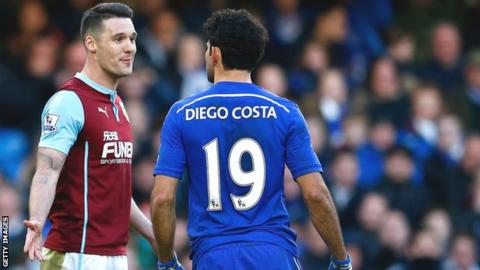 Burnley's Jason Shackell (left) and Diego Costa of Chelsea