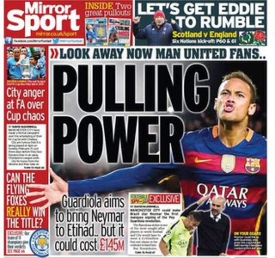 Today's newspaper gossip: Hazard says sorry to Mourinho, Man City eye Neymar swoop