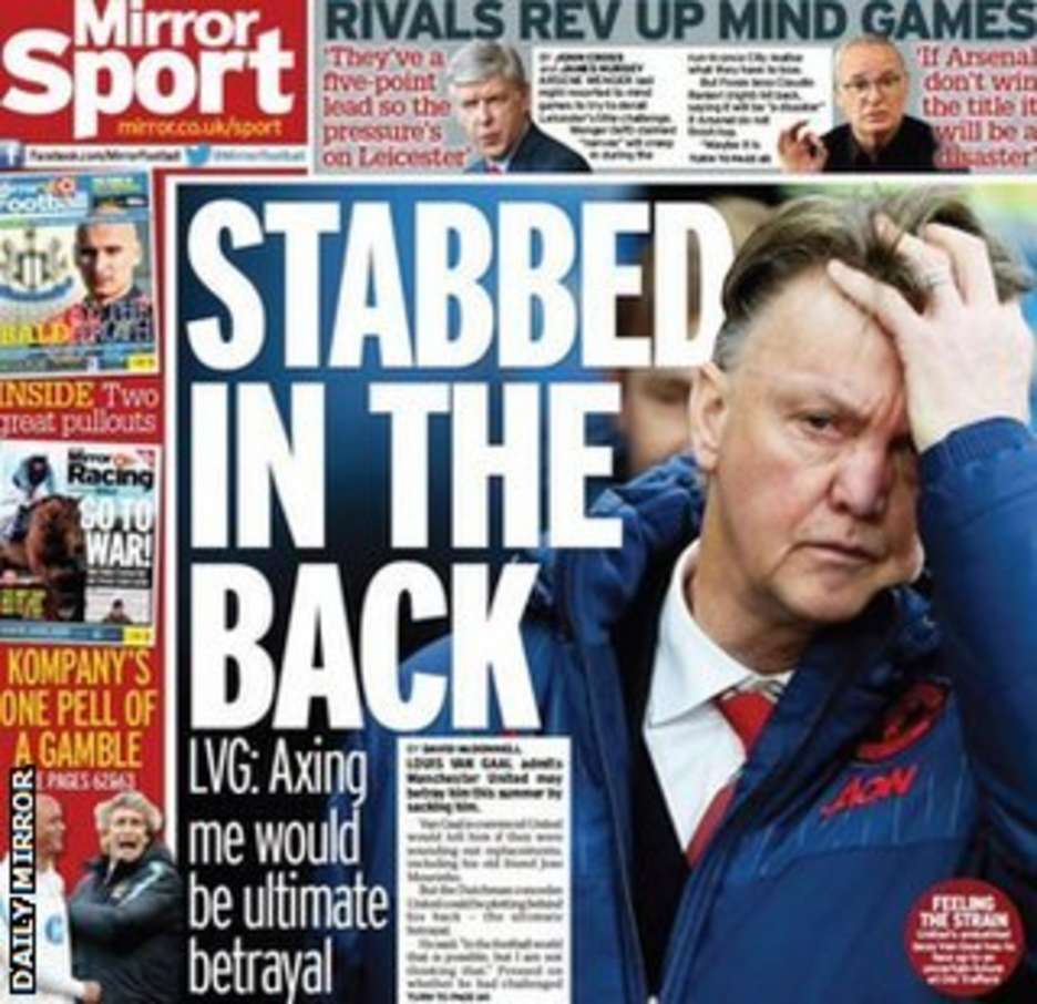 The Daily Mirror's back page