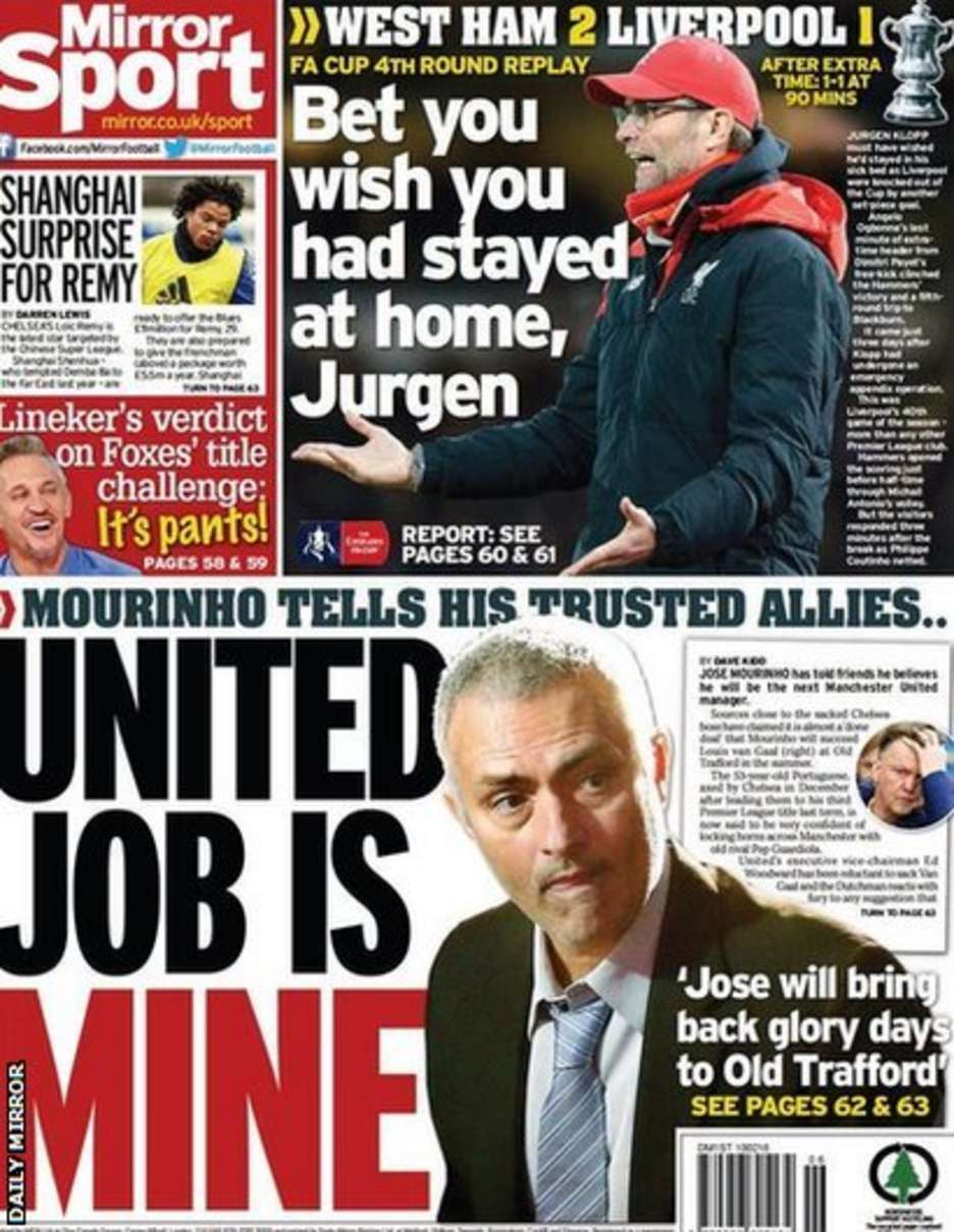 Today's newspaper gossip: Mourinho says Man United job
