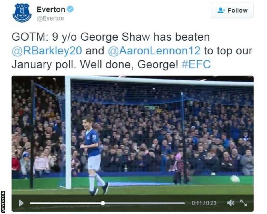 Everton goal of the month tweet
