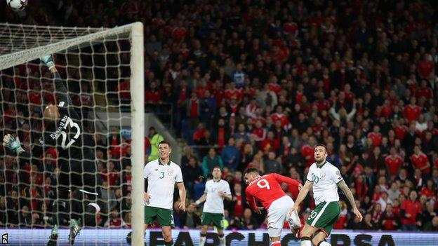 Wales' Hal Robson-Kanu has a header saved by Darren Randolph of the Republic of Ireland