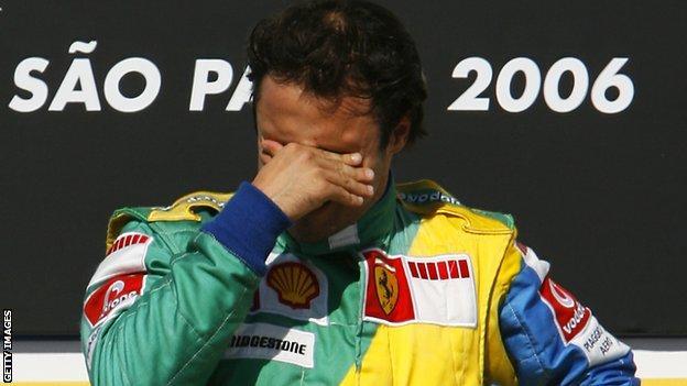 Felipe Massa on the podium after winning the 2006 Brazilian Grand Prix
