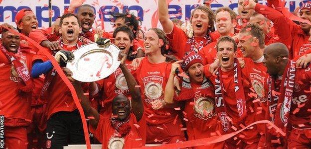 Twente's players celebrate their shock championship victory
