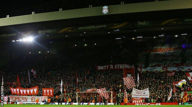 Liverpool beat Manchester United 2-0 under the Anfield floodlights in the Europa League in March