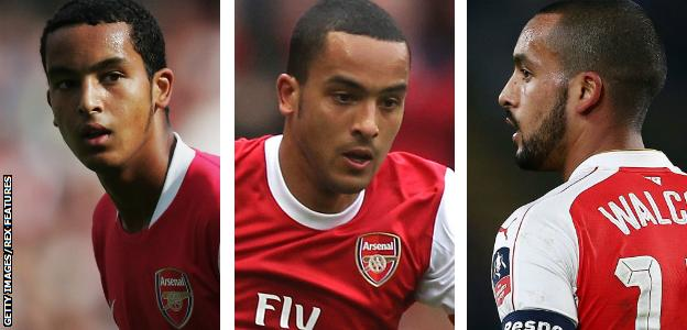 Theo Walcott pictured in 2006, 2011 and 2016
