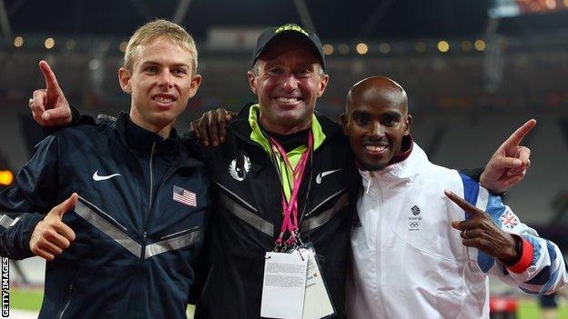 Alberto Salazar (centre) celebrates Mo Farah (right) winning gold in the 10,000m final at the London 2012 Olympics with team-mate and silver medallist Galen Rupp (left)