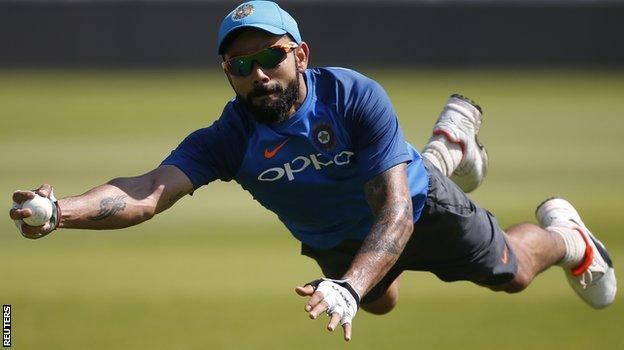Virat Kohli took an amazing diving catch during practice on Saturday
