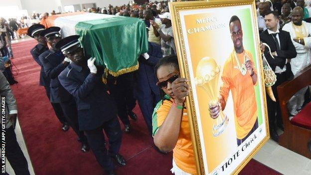 The funeral of Ivorian star Cheick Tiote is held in Abidjan