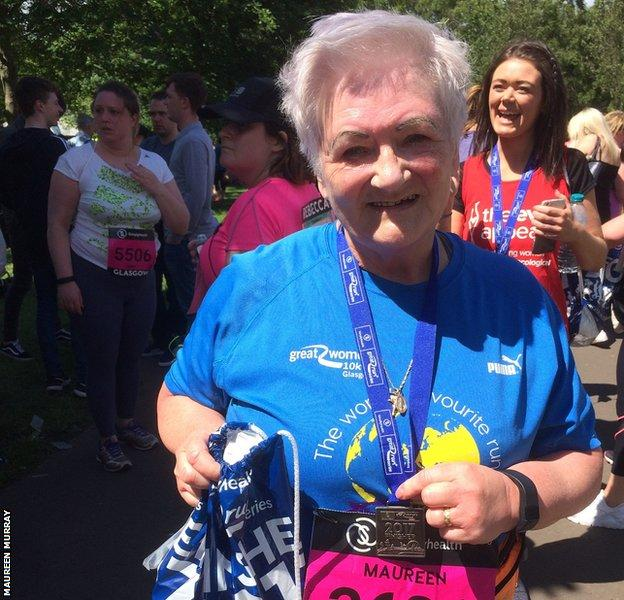 Maureen shows off her medal for finishing this year's Great Run Women's 10K in Glasgow