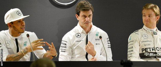 Lewis Hamilton, Toto Wolff and Nico Rosberg
