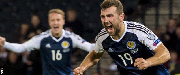 James McArthur celebrates his equalising goal for Scotland