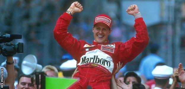 Schumacher celebrates