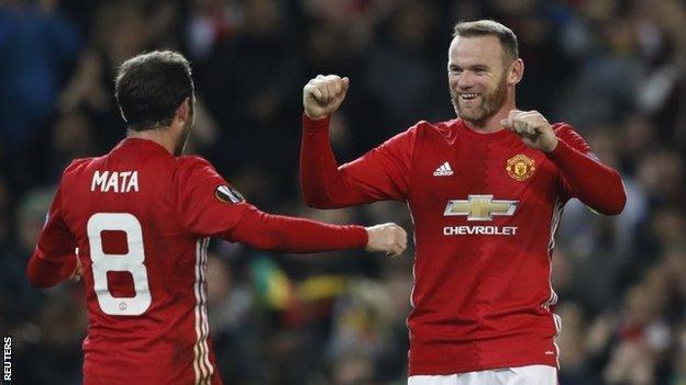 Juan Mata and Wayne Rooney