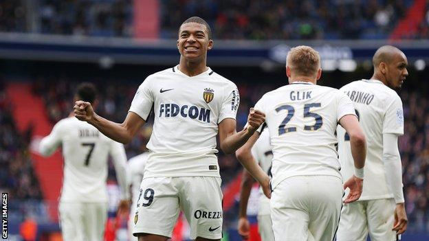 Teenager Mbappe scored 15 league goals in 29 appearances for Monaco in Ligue 1 last season