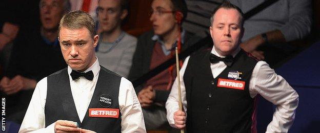 Stephen Hendry and John Higgins