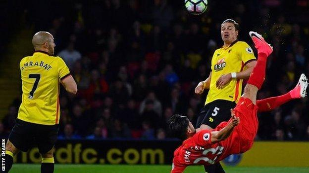 Emre Can scores for Liverpool against Watford