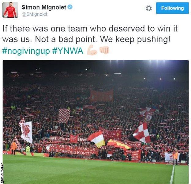 Mignolet tweet