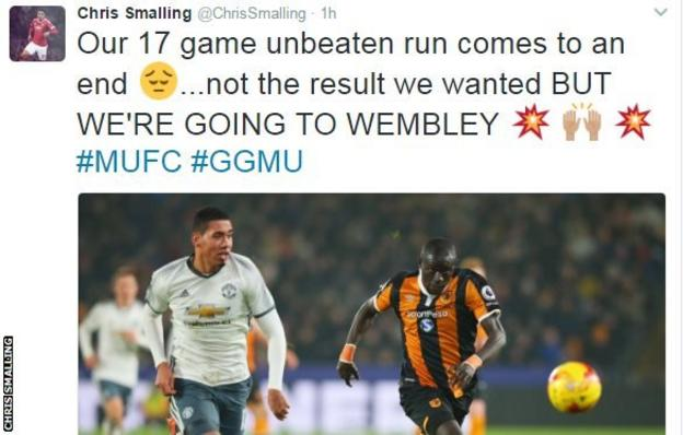 Chris Smalling pointed to the final on 26 February on Twitter after the defeat