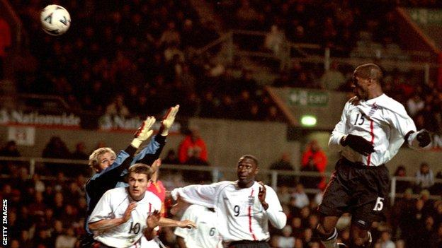 Ugo Ehiogu scores for England against Spain in 2001