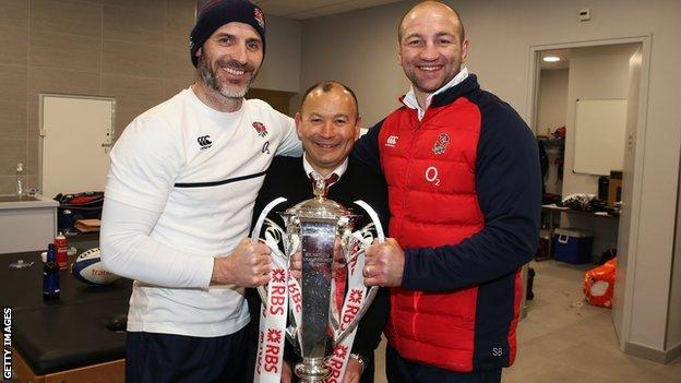 England coaches Eddie Jones, Paul Gustard and Steve Borthwick