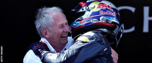 Helmet Marko & Max Verstappen celebrate Verstappen's win