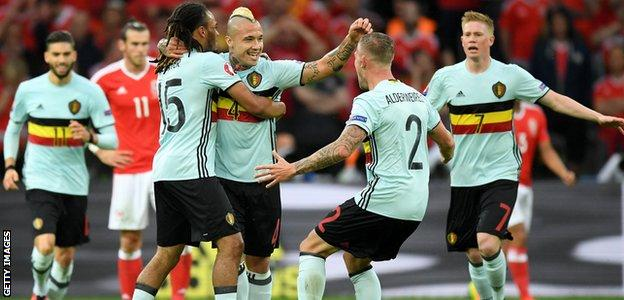 Radja Nainggolan scores against Wales in the quarter-finals of Euro 2016
