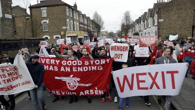 Arsenal fans marched calling for the resignation of Arsene Wenger before their FA Cup quarter-final win over Lincoln