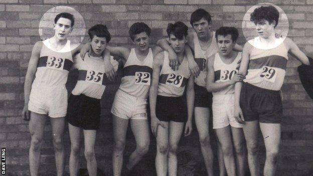 Dave (left), Brendan Foster (right), both aged 15 in 1963, with fellow schoolboy runners from Gateshead Harriers