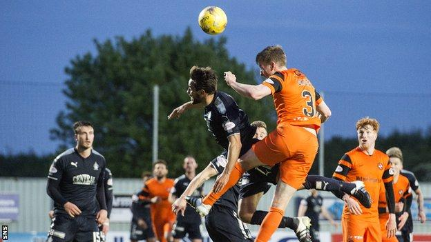 Paul Dixon scores for Dundee United against Falkirk