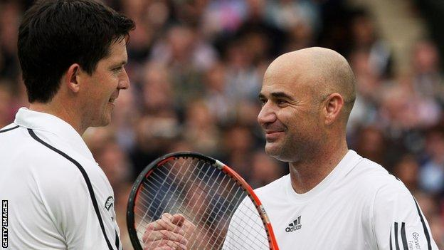 Tim Henman and Andre Agassi