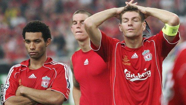Jermaine Pennant (left) after the Champions League final defeat in 2007