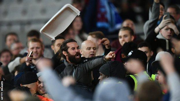 fans clash at the London Stadium