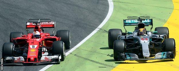 Vettel defends from Hamilton