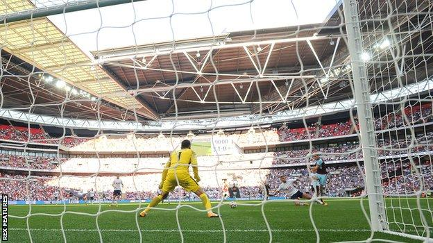 Chris Wood scores Burnley's equaliser against Tottenham at Wembley