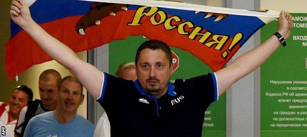 Alexander Shprygin arrives back in Russia after being deported from Euro 2016 with 19 other fans